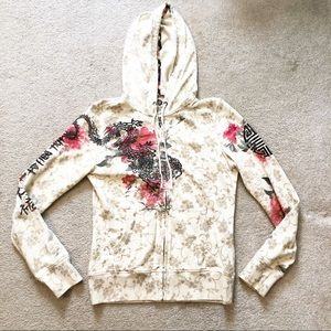 Lucky Brand Floral Hooded Zip Up Jacket